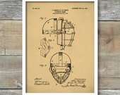 Patent Print, Vintage Catchers Mask, Patent Poster, Baseball Decor, Sports Wall Art, Coach Gift, Baseball Coach, P390