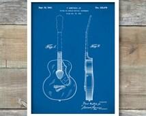 Patern Print, Gretsch 6022 Rancher Guitar Poster, Guitar Art, Music Room Decor, Rock and Roll, P257