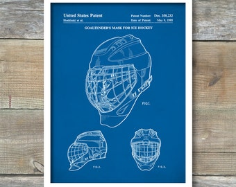 Patent Print, Goaltender's Hockey Mask, Hockey Decor, Sports Wall Art, Patent Poster, Coach Gift, Hockey Coach, P374