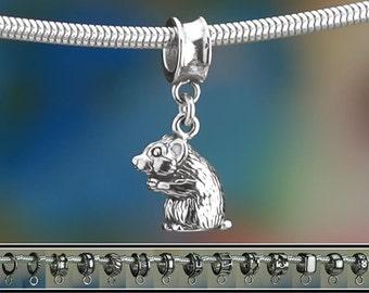 Sterling Silver Hamster Charm or European Style Charm Bracelet .925