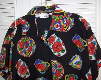 Kenar 80's Geometric Shirt Size Large Sought-after Vintage Item