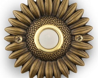 Oil Rubbed Brass Sunflower doorbell button.  Free shipping on your second item!