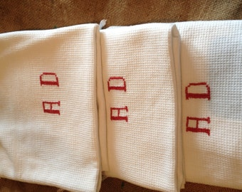 Three FRENCH vintage shaving towels.