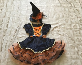Infant Toddler Girls Halloween Witches Costume Dress, Orange, Available in Sz 12 month to 4T