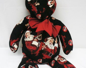 "Handmade 23"" Christmas Santa Claus themed Coca Cola black, red and white Teddy Bear with red bow around neck"