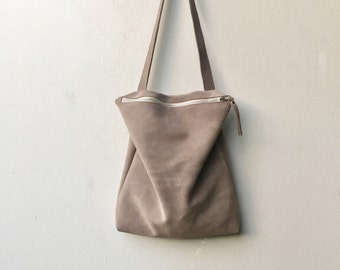 Gray suede bag,Gray leather tote,Gray leather bag,Gray suede handbag,Gray zipper bag