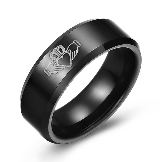 Black Tungsten Claddagh Ring by IceGoldJewellery on Etsy