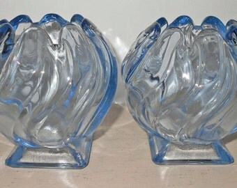 Vintage Bagley Blue Art Deco Glass Vases Art Deco Bagley Vases