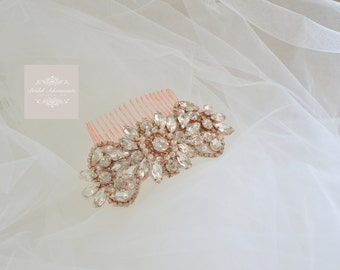 "Rose Gold ""Marie""Crystal and Pearl Bridal Comb"