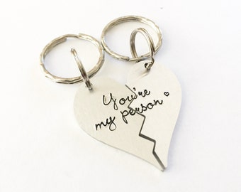 You're my person - Best friends keychains - You're my person jewelry - Couples Jewelry - Personalized hand stamped bracelet - Greys Anatomy