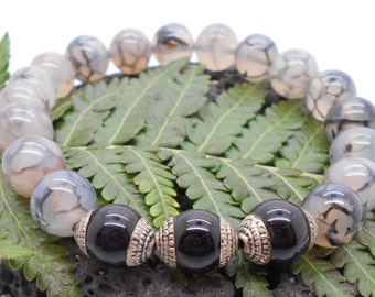Jacinto Dragons Vein and Black Tibetan Bead Unisex Bracelet - Stretch Bracelet, Stacking Bracelet, Stone, Chakra, Boho, Mens Bracelet