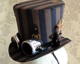 Steampunk Top Hat with Goggles,WOMEN's Neo-Victorian Striped Top Hat in Black and Brown-Custom-Made to Order