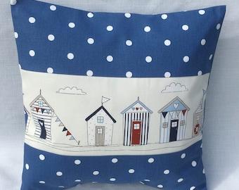Beach Hut Cushion Cover    Navy, Red, or Powder Blue