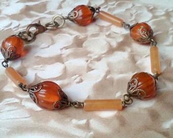 Handmade Bracelet, Genuine Stone Bracelet, Carnelian Stone Bracelet, Pumpkin Beaded Bracelet, Autumn Jewelry, Golden Orange Bracelet, Boho