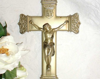 "Gold Metal Crucifix 6 x 9"" With Decorative Edges For Hanging or Mounting"