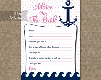 Bridal Shower Advice Cards - Nautical Advice For The Bride - Printable Bridal Advice Shower Game - Pink Nautical Bridal Shower RNTP