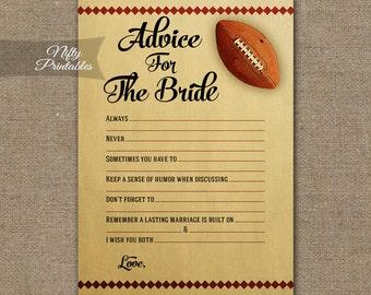 Bridal Shower Advice Cards - Football Advice For The Bride - Football Bridal Advice Shower Game - Printable Bridal Games FTB