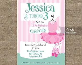 3rd Birthday Invitations - Ballerina Tutu Birthday Invitation - Printable Girls 3rd Birthday Party - Three Year Old Ballet Birthday BAL2