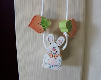 Hand painted Easter Bunny and Carrot Necklace