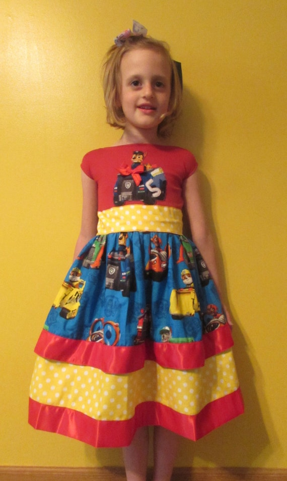 Girls Paw Patrol Birthday dress / knit top / waste tie / cotton / satin / sizes 1T to 6 child