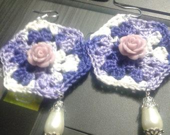 crocheted earrings with pearl