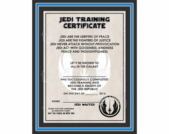 PRINTABLE Training Certificate - Galaxy - Star Wars Inspired - INSTANT DOWNLOAD