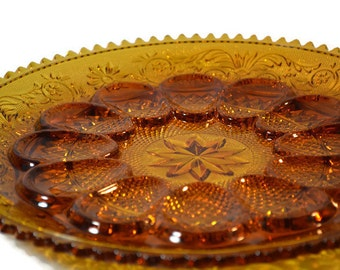 Tiara, Egg and Relish Tray, Indiana Amber, Sandwich Glass,