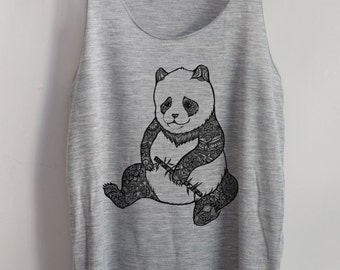CLEARANCE  Art Design Panda Mafia Shirt -- Panda Shirt Animal Shirt Ladies Shirt Tank Top Women T-Shirt Singlet Tunic Funny Size S,M,L
