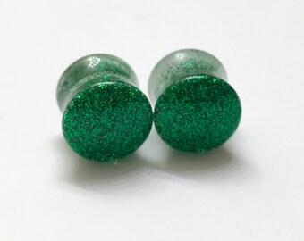 "12mm (1/2"") Green Glitter Plugs - Double Flare - Resin Plugs"