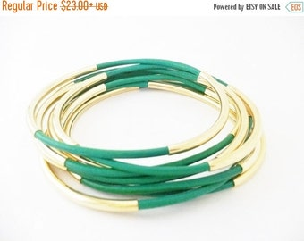 Mothers Day Sale Emerald Green Leather Bangle Bracelets with Double Gold or Silver Tube Accents, Tube Bangles, Tube Bracelets, Stacking Brac