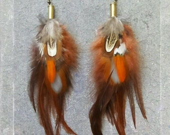 Recycled Bullet Shell Gypsy Tribal Boho Auburn Fire Reds and Orange Natural Pheasant Feather Earrings