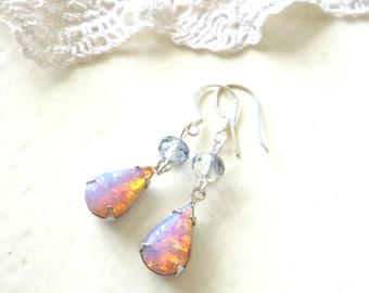 Fire Opal Earrings, Silver Dangle Earrings, Vintage Glass Earrings, Elegant Drop Earrings