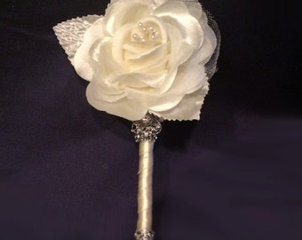 Boutonniere, Brooch Boutonniere, Groom Boutonniere, Wedding Boutonniere Trim Color of Your Choice