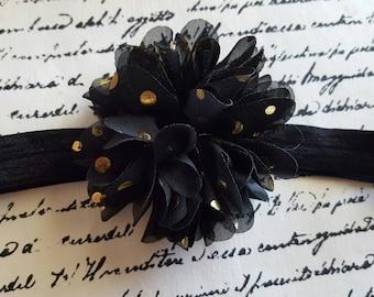 New years Black and gold puff  flower headband, newborn, baby, infant,  toddler, child, adult,  birthday,  wedding, flower girl