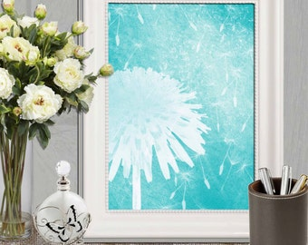 Turquoise nursery flower art Dandelion printable wall art Turquoise Home decor Modern Abstract flower print Digital Download 5x7 8x10 16x20