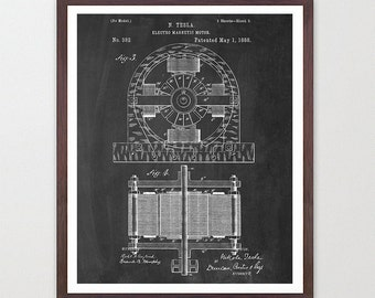 Tesla Electric Engine - Tesla Poster - Tesla Electric Cars - Electric Car Poster - Automobile Art- Patent Print - Patent Poster