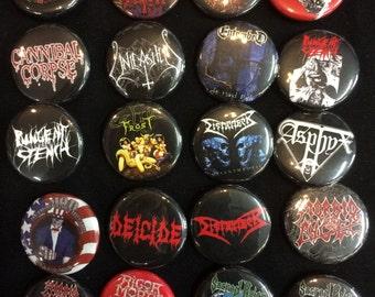 001 Death Speed Thrash Black Metal Button, Pin, Badge