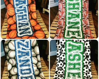 Sports Personalized Beach Towel: Baseball, Football, Soccer, Basketball