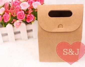 10x BROWN 10x6x15.5cm Kraft DIY Paper Party Bag Cookie/Biscuit Favour Boxes