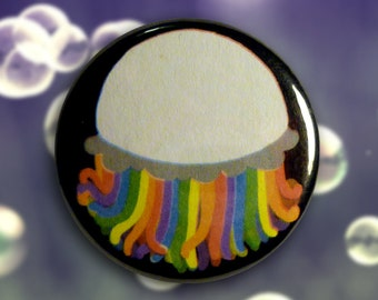 Rainbow Jellyfish 1.25in Pin Back Button or Magnet