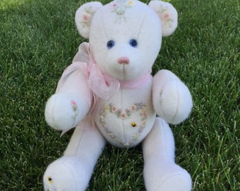 Wool Embroidered, Hand-Crafted Artist Teddy Bear