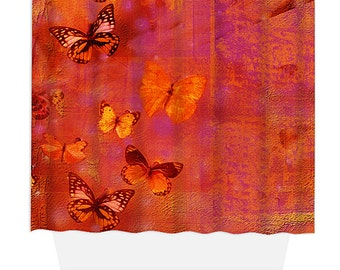 Shower Curtain, Home Decor, Bathroom Decor, Red Butterfly Collage