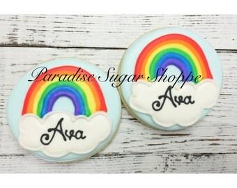 One Dozen Rainbow cookies with Name