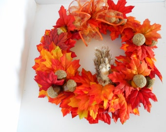 "Fall Wreath,Squirrel, Acorn, Fall Leaves 11"""