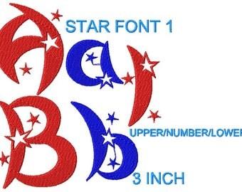 Star Embroidery design Font, Monogram