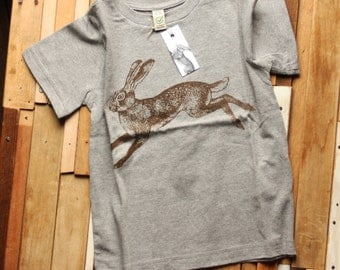 Organic Cotton Screen Printed Children's T Shirt with Hare Screen Print