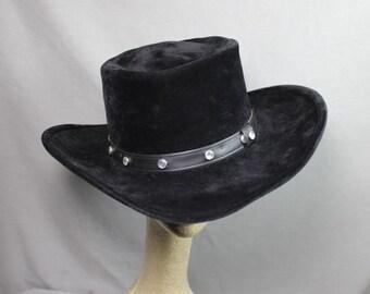 Vintage Black Suede Cowboy Hat