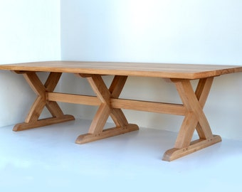 Sawbuck Oak Kitchen Dining Table
