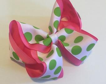 Pink and Green Polka Dot Bow