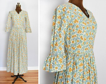 1960s / 1970s Summer of Love Cotton Maxi Dress with Bell Sleeves